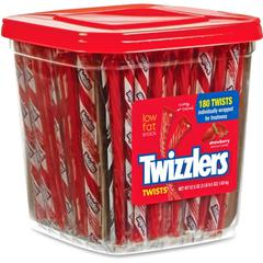 Twizzlers Hershey Co. Strawberry Twists Snack - Strawberry, Licorice - Individually Wrapped, Reusable Container, Low Fat - 3.59 lb - 180 / BoxBox