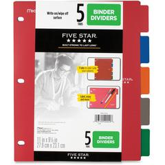 "Five Star Multicolor 5-tab Binder Dividers - 5 x Divider(s) - 9.1"" Divider Width x 11"" Divider Length - 8 1/2"" Width x 11"" Length - 3 Hole Punched - Red Plastic, Blue, Orange, Purple, Green Divider -"