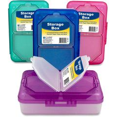 """Products Storage Box, Assorted, 1 Box (Color May Vary) - External Dimensions: 8.3"""" Width x 5.4"""" Depth x 2.4"""" Height - 3 Dividers - Blue, Aqua, Purple, Pink - For Office Supplies, School Supplie"""