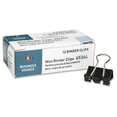 Business Source Fold-back Binder Clips - Mini - for Paper - 144 / Box - Tempered Steel, Nickel Plated