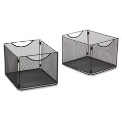 "Onyx Mesh Cube Bins Qty 2 - External Dimensions: 12.5"" Width x 14"" Depth x 10"" Height - 20 lb - Steel - Black - 2 / Pack"