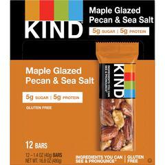KIND Maple Glazed Pecan/Sea Salt Nut/Spice Bars - Gluten-free, Cholesterol-free, Non-GMO, Individually Wrapped - Pecan, Sea Salt - 1.40 oz - 12 / Box