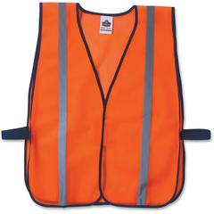 GloWear Glowear Orange Standard Vest - High Visibility, Comfortable, Machine Washable, Reusable, Breathable, Hook & Loop Closure, Reflective - Fabric, Polyester Mesh - Orange - 1 / Each