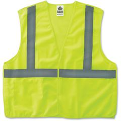 GloWear Lime Econo Breakaway Vest - Reflective, Machine Washable, Lightweight, Hook & Loop Closure, Pocket - 2-Xtra Large/3-Xtra Large Size - Polyester Mesh - Lime - 1 / Each