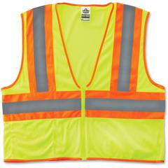 GloWear Class 2 Two-tone Lime Vest - Reflective, Machine Washable, Lightweight, Pocket, Zipper Closure - Small/Medium Size - Polyester Mesh - Lime - 1 / Each