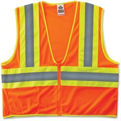 GloWear Class 2 Two-tone Orange Vest - Reflective, Machine Washable, Lightweight, Pocket, Zipper Closure - Small/Medium Size - Polyester Mesh - Orange - 1 / Each