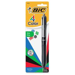 BIC 4-Color Grip Ballpoint Pen - Medium Point Type - 1 mm Point Size - Refillable - Black, Blue, Red, Green - Black Barrel - 1 Pack