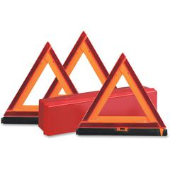 Deflecto Early Warning Triangle Kit - 1 Each - Triangle Shape - Fluorescent, Non-flammable - Orange, Red