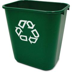 "Recycling Symbol Container - 7.03 gal Capacity - Rectangular - 15"" Height x 10.2"" Width - Plastic - Green"