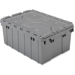 "Akro-Mils Attached Lid Container - Internal Dimensions: 8.63"" Height - External Dimensions: 21.5"" Length x 15"" Width x 9"" Height - 35 lb - 8 gal - Padlock, String/Button Tie Closure - Stackable - Plas"