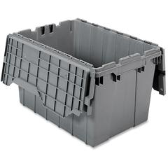 "Akro-Mils Attached Lid Container - Internal Dimensions: 12"" Height - External Dimensions: 21.5"" Length x 15"" Width x 12.5"" Height - 65 lb - 12 gal - Padlock, String/Button Tie Closure - Stackable - Pl"