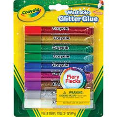 Crayola Washable Glitter Glue - 9 / Pack - Blue, Green, Jade Green, Natural, Silver, Gold, Multi, Red, Purple