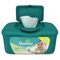 Pampers Natural Clean Wipes - Green - Unscented, Hypoallergenic, Soft, Strong, Durable - For Skin - 72 Sheets Per Tub - 72 / Pack
