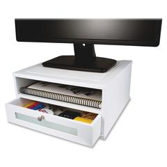 """Victor W1175 Pure White Monitor Riser - 6.5"""" Height x 13"""" Width x 13"""" Depth - Desktop - Wood, Faux Leather, Frosted Glass - White"""