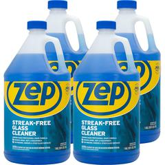 Zep Commercial Streak-free Glass Cleaner - Liquid - 1 gal (128 fl oz) - 4 / Carton - Blue