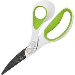 """Westcott Bent CarboTitanium Scissors - 8"""" Overall Length - Bent - Titanium - Pointed Tip - Gray - 1 Each"""