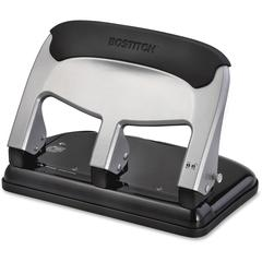 "Bostitch EZ Squeeze 40-sheet 3-Hole Punch - 3 Punch Head(s) - 40 Sheet Capacity - 9/32"" Punch Size - 7.4"" x 3.1"" - Black, Silver"