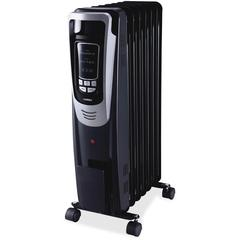 Lorell LED Display Mobile Radiator Heater - Electric - Electric - 600 W to 1500 W - 3 x Heat Settings - 150 Sq. ft. Coverage Area - 1500 W - Black