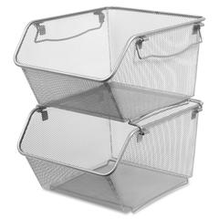 Lorell Mesh Stacking Storage Bin - 2 Tier(s) - Desktop - Silver - Steel, Metal - 2 / Pair