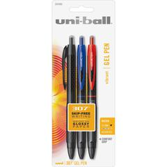 Uni-Ball .5mm 307 Gel Pens - Micro Pen Point - 0.5 mm Pen Point Size - Assorted Gel-based Ink - Assorted Barrel - 3 / Pack