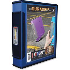 "Storex Dura Grip D-ring White View Binders - 2"" Binder Capacity - Letter - 8 1/2"" x 11"" Sheet Size - 540 Sheet Capacity - D-Ring Fastener - 1 Internal Pocket(s) - Plastic, Rubber - Blue - 1 Each"