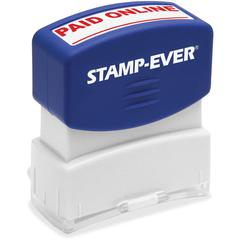 """U.S. Stamp & Sign PAID ONLINE Pre-inked Stamp - Message Stamp - """"PAID ONLINE"""" - 1.69"""" Impression Width x 0.56"""" Impression Length - 50000 Impression(s) - Red - 1 Each"""
