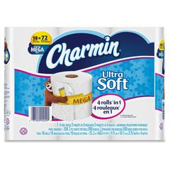 Charmin Ultra Soft Bath Tissue - 2 Ply - White - Soft, Absorbent, Clog-free, Anti-septic - For Bathroom, Toilet - 18 Rolls Per Pack - 18 / Carton