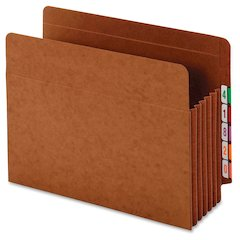 "Pendaflex Expanding Tyvek Gusset End Tab Pockets - Letter - 8 1/2"" x 11"" Sheet Size - 7"" Expansion - End Tab Location - 34 pt. Folder Thickness - Brown - 5 / Box"