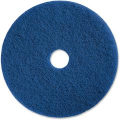 "Genuine Joe Medium-duty Scrubbing Floor Pad - 13"" Diameter - 5/Carton x 13"" Diameter x 1"" Thickness - Resin, Fiber - Blue"