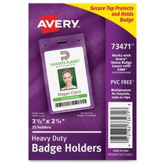 Avery Secure Top ID Badge Holder - Portrait - 25 / Pack - Clear
