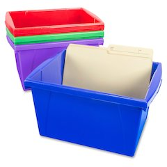 "Storex Storage Box - External Dimensions: 13.6"" Length x 11.3"" Width x 7.9"" Height - Stackable - Assorted Bright - For File, Office Supplies - Recycled - 4 / Set"