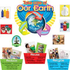 "Trend Reduce/Reuse/Recycle Bulletin Board Set - Learning, Fun Theme/Subject - Take Care of Our Earth, Reduce, Reuse, Recycle - 17"" Height - Assorted - 1 Set"
