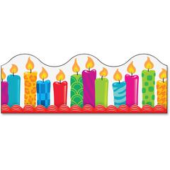 "Trend Birthday Candles Board Trimmers - Learning Theme/Subject (Candle) Shape - Durable, Reusable - 2.25"" Height x 468"" Width - Multicolor - 1 Pack"