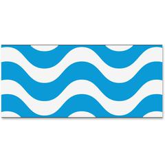 "Trend Wavy Blue Bolder Borders - (Wave) Shape - Precut, Durable, Reusable - 2.75"" Height x 429"" Width - Blue, White - 1 Pack"