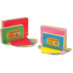 "Hygloss Bright Color Blank Note Cards - 100 Sheets - Plain - 3"" x 5"" - Assorted Paper - 1Pack"