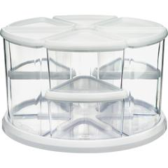 "Deflecto Rotating Carousel Organizer - 9 Compartment(s) - 6.6"" Height - Clear, White - 1Each"