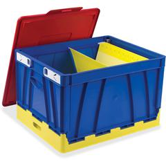Storex 4 Piece Collapsible Crates - Red, Blue, Yellow - For File, Document - Recycled - 4 / Set