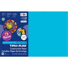 "Tru-Ray Construction Paper - 18"" x 12"" - 50 / Pack - Atomic Blue - Sulphite"