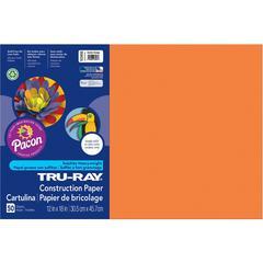 "Tru-Ray Construction Paper - 18"" x 12"" - 50 / Pack - Electric Orange - Sulphite"