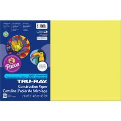 "Tru-Ray Construction Paper - 18"" x 12"" - 50 / Pack - Lively Lemon - Sulphite"