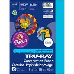 "Tru-Ray Construction Paper - 12"" x 9"" - 50 / Pack - Atomic Blue - Sulphite"
