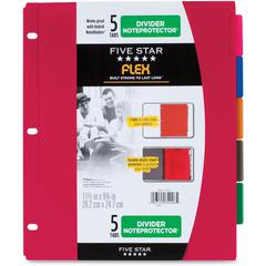 "Five Star Flex 5 Tabs Divider Noteprotectors - 5 x Divider(s) - 9.8"" Divider Width x 11.50"" Divider Length - 8 1/2"" Width x 11"" Length - 3 Hole Punched - Red Plastic, Blue, Orange, Purple, Green Divid"
