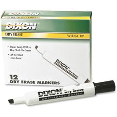 Dry Erase Whiteboard Markers - Broad, Fine Point Type - Wedge Point Style - Black - 1 Dozen