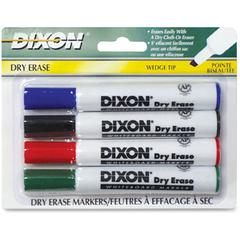 Dry Erase Whiteboard Markers - Broad, Fine Point Type - Wedge Point Style - Assorted - 4 / Pack