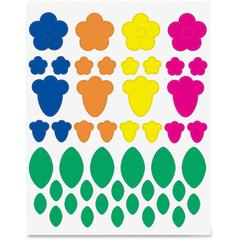 Hygloss Floral Shapes Stickers - 72 (Floral) Shape - Self-adhesive - Green, Blue, Orange, Yellow, Pink - 1 Pack