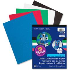 "Pacon Glitter Construction Paper Pad - 9"" x 11.5"" - 50 / Pack - Assorted - Paper"