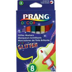Prang Decor Glitter Markers - Assorted Water Based Ink - 8 / Box