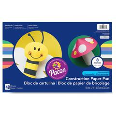"Pacon Heavyweight Construction Paper Pad - 18"" x 12"" - 48 / Pad - Assorted - Paper"