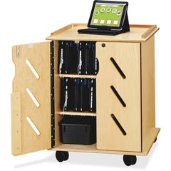 "Jonti-Craft Laptop/Tablet Storage Cart - 24"" Width x 23"" Depth x 30"" Height - Woodgrain - For 32 Devices"