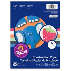 "Pacon Lightweight Construction Paper - 12"" x 9"" - 300 / Pack - Assorted"